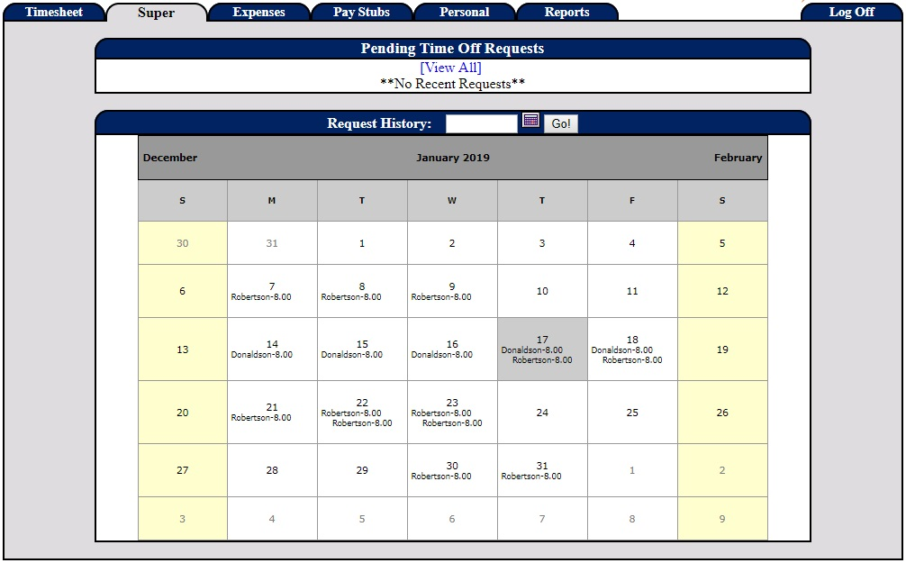 Screenshot of the time-off request calendar in our PowerTime software, showing the scheduled time off for employees on each day of the calendar