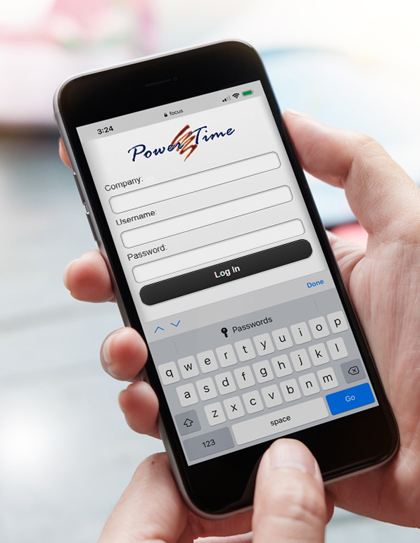 Client using the PowerTime mobile app on their mobile phone