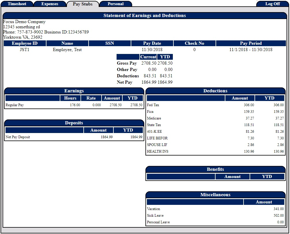Screenshot of a demo employee's paystub being viewed in our PowerTime software