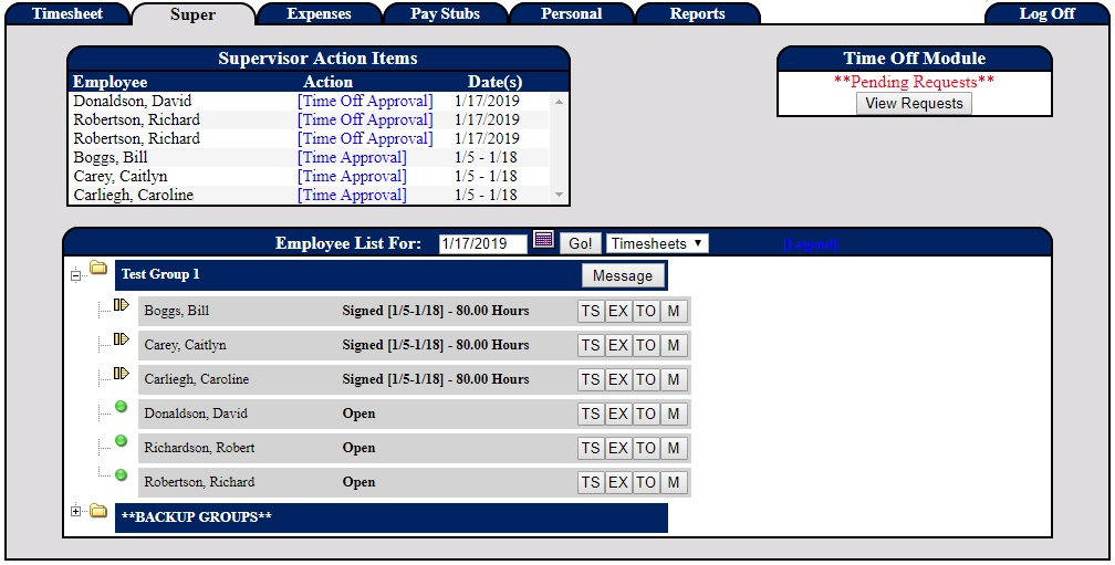 Screenshot of the supervisor panel and tools inside our PowerTime software