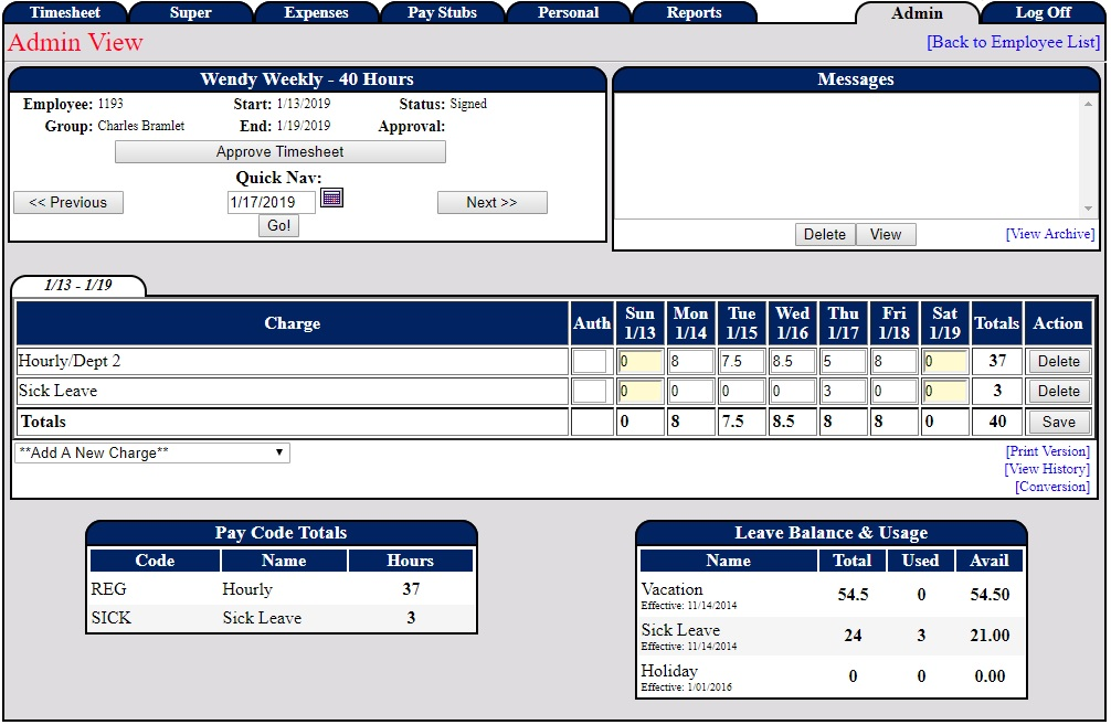 Screenshot of an Admin view of a weekly timesheet in our PowerTime software