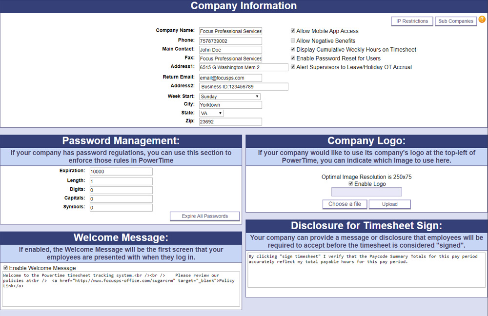 A screenshot of PowerTime's Company Information page, where admins can use the many settings to configure their company in PowerTime to their liking
