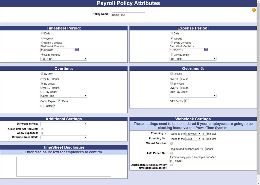 A screenshot of PowerTime's Payroll Policy Attributes page, where admins can configure the selected payroll policy in many ways
