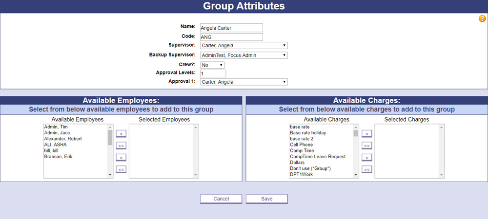 A screenshot of PowerTime's Group Attributes page, where Admins can create and configure groups to organize their employees into