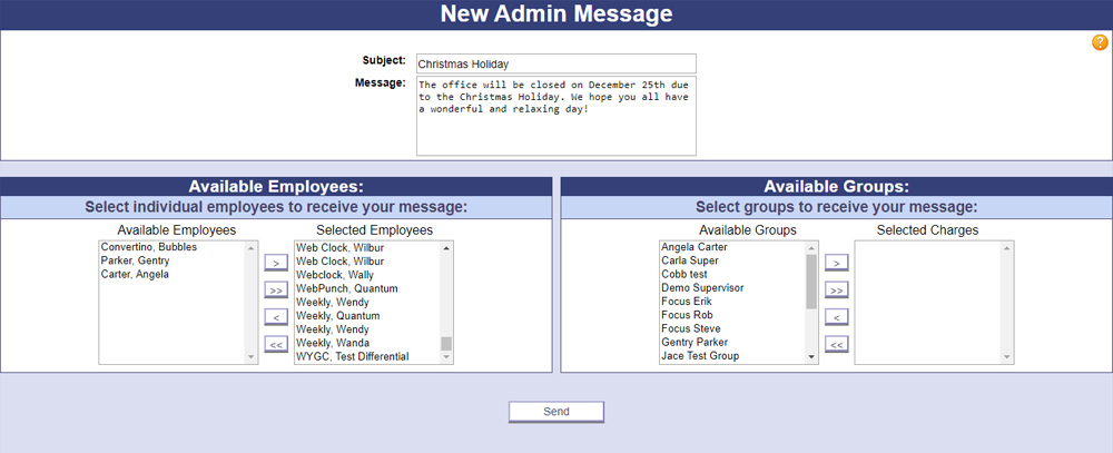 A screenshot of PowerTime's Mass Message page, where Admins can quickly send a message to as many or as few employees as they choose