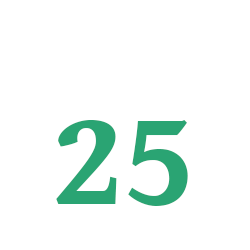 A stylized symbol of a single-day calendar, displaying December 25th on it