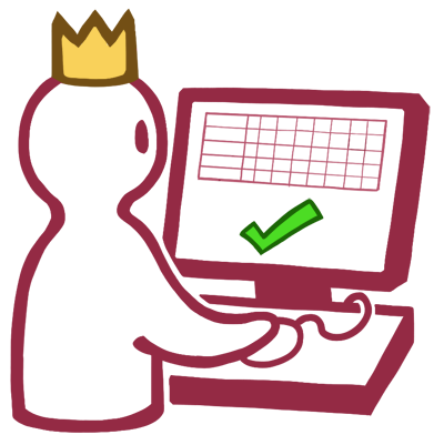 A simple stylized drawing of a Supervisor wearing a crown while using PowerTime on a PC