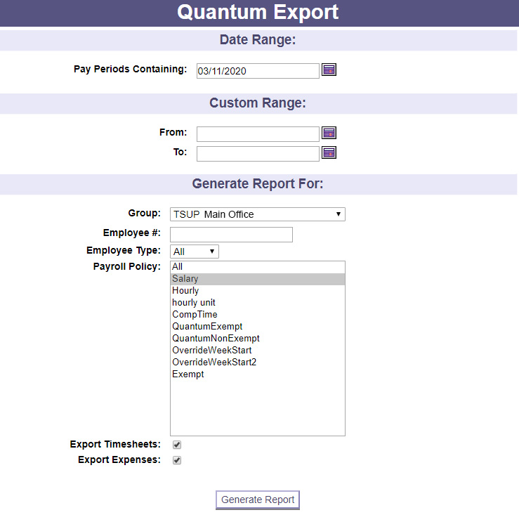 A screenshot of one of PowerTime's export options, where users select the data they would like to export