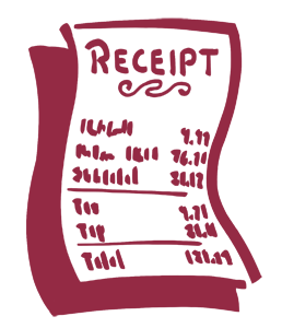 A simple stylized drawing of a receipt