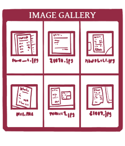 A simple stylized drawing of an image gallery of receipt pictures