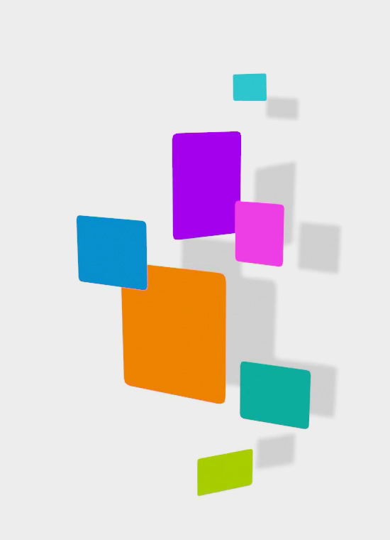 several colorful squares and rectangles float overtop of the page