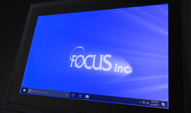 Close up of the Tempus' screen, displaying Windows 10 with the Focus Inc logo