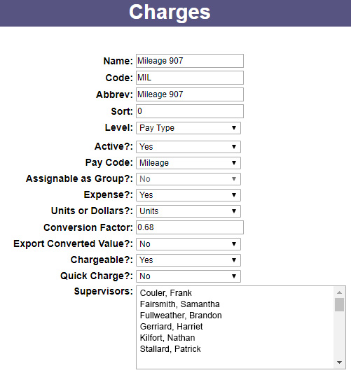 A Screenshot of PowerTime's Expense Charges settings, showing many options for how it may be used by employees