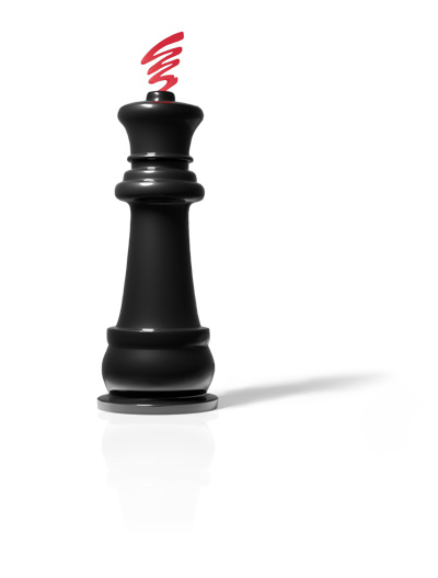 A chess piece, the black king, topped with the PowerTime Symbol
