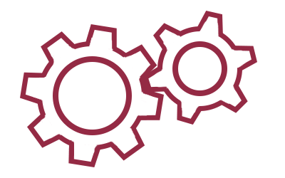 A simple line drawing of two interlocking gears