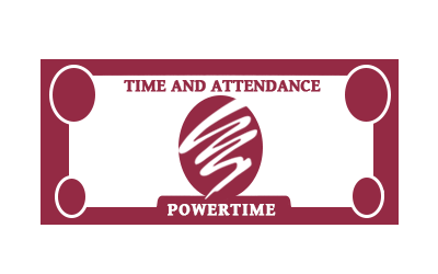 A simple line drawing of a paper money bill, with PowerTime's logo on it, and the text changed to