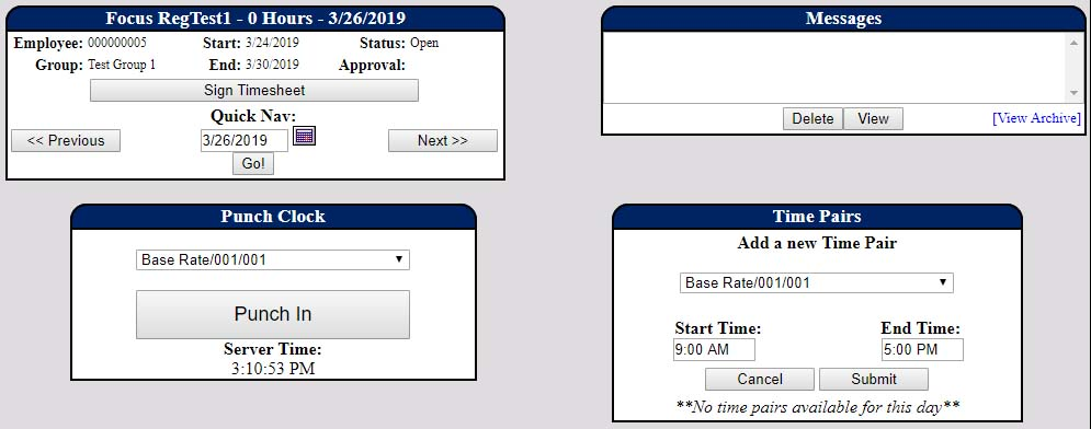 Screenshot of PowerTime's daily timesheet view