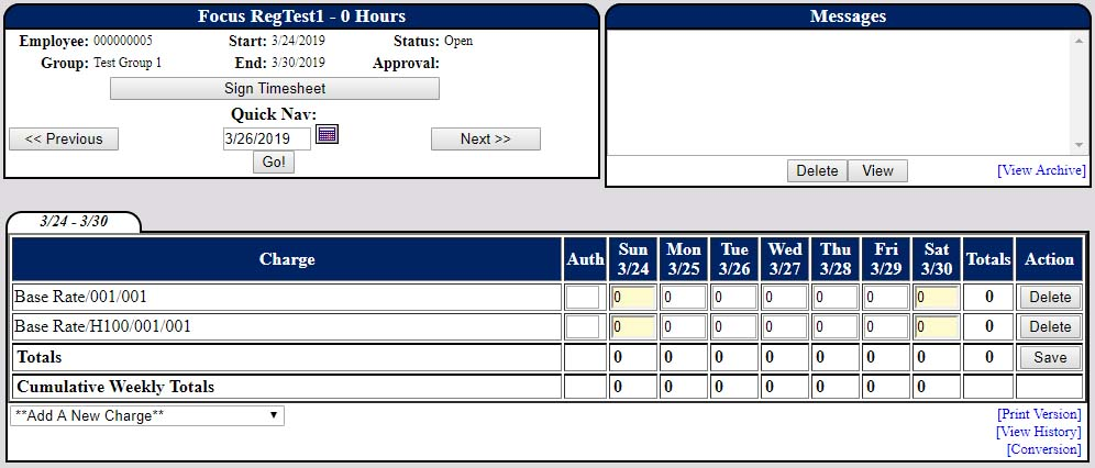 Screenshot of PowerTime's weekly timesheet view