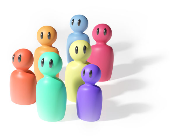 A group of cute stylized people, each in different colors